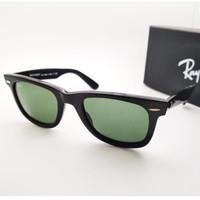 Kacamata Rb Wayfarer 2140 PREMIUM hitam glossy lensa kaca Kacamata