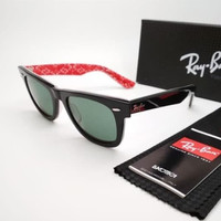 Kacamata Rb Wayfarer motif tulisan merah lensa kaca - sunglasses