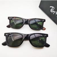 Kacamata Rb Wayfarer 2140 PREMIUM hitam glossy lensa blue polar