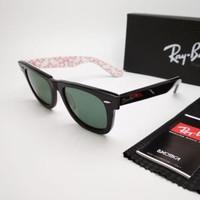 Kacamata Rb Wayfarer motif tulisan putih merah lensa kaca Kacamata