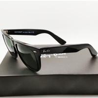 Kacamata Rb Wayfarer hitam glossy lensa kaca besar size 54 Kacamata