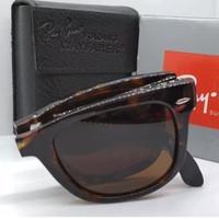 Kacamata Rb Wayfarer Folding tortoise lensa kaca coklat full set