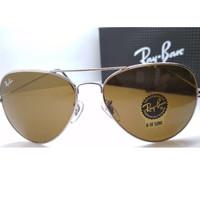 Kacamata Rb Aviator 3026 frame silver lensa kaca coklat full set
