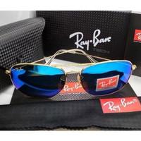 Kacamata Rb Caravan 3136 frame gold lensa kaca biru tua full set
