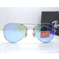Kacamata Rb Aviator Flash 3026 frame gold lensa kaca biru muda