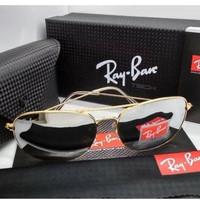 Kacamata Rb Caravan 3136 frame gold lensa kaca silver - sunglasses