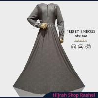 Gamis Dress Jersey Motif Emboss Relief Abu Tua Size M XL Jumbo