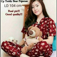 Restok baju tidur piyama dewasa black cat celana panjang 145