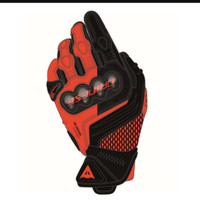 Dainese Carbon 3 Short Gloves -Black Red Fluo-New Design from Dainese