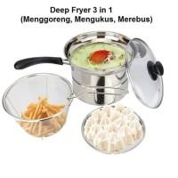 Deep fryer pot Stainless 22 cm multifungsi 3 in 1 / kompor induksi