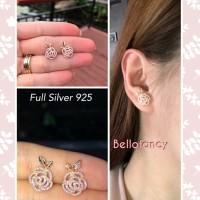 Anting Rose Mawar Full Silver S925