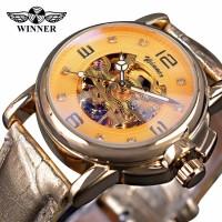 Jam Tangan Wanita Winner Automatic Skeleton Luxury Transparan Gold