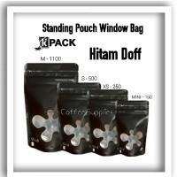 TERBARU WINDOW BAG STANDING POUCH HITAM DOFF MATTE BLACK kemasan jende
