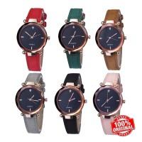 COD jam tangan Dial Rustic Strap Kulit PU Warna Hitam untuk Wanita