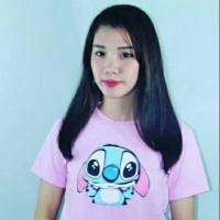 Kaos Wanita cute stitch pink baju tee tumblr t-shirt adem