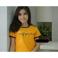Ringer tee stay positive Kuning mustard Kaos t-shirt tee tumblr murah