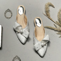 Jasmine White Flats Party shoes 3.3cm