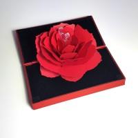 Tempat Cincin Popup Mawar Rose Merah Ring Box