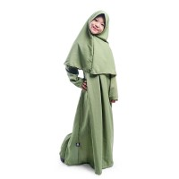 BAJUYULI - Baju Muslim Gamis Anak Set Jilbab Polos Wolfis Hijau MWHA01