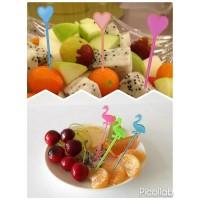 Tusuk Bento Garpu Buah Fruit Fork Food Pick Love Heart Flamingo Angsa