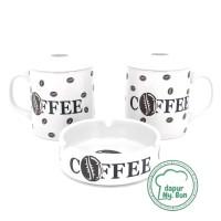 2 Pcs Cangkir Tutup Trandy New   Asbak Print Coffee / Mug Teh / G