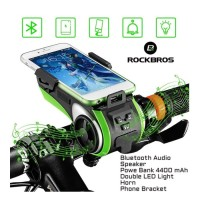 Holder Sepeda Rockbros Audio Power Bank Lampu LED Speaker Bel 5 in 1