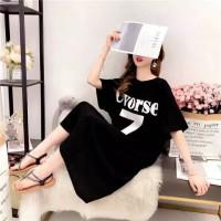 dress kaos baju terusan wanita simpel elegan minidress korea santai