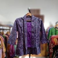 Blouse Eanita Batik Cap Ungu Modern