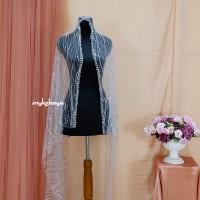 Veil/kerudung pengantin panjang aksen pearly cantik
