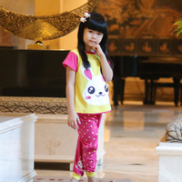 Setelan Baju Anak Perempuan Face Animal Rabbit Yellow