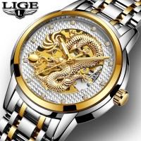Jam Tangan Pria Lige Automatic Dragon Luxury Silver White Gold