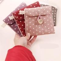 Dompet tempat pembalut tissue mini Tas kain traveling motif poladot D