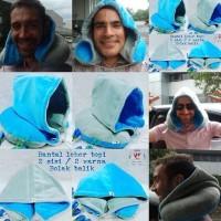 Bantal leher Topi hoodie travel pillow U shape premium - Hitam