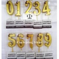 Lilin Angka Ulang Tahun / Birthday Candle GLOSSY Polos - GOLD Termurah