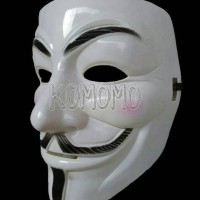 Mask V For Vendetta Guy Fawkes Anonymous White/Topeng Anonymous Putih
