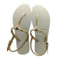 Sandal Wanita Frenchie Slipper Strappy Rockstud Beige /Gold SFR01
