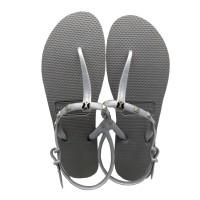 Sandal Wanita Frenchie Slipper Strappy Rockstud Gray/Silver SFR03