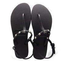 Sandal Wanita Frenchie Slipper Strappy Rockstud All Black SFR02