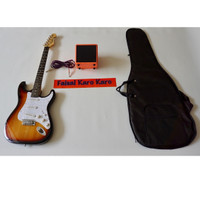 Gitar Fender Stratocaster Paketan Ampli,Kabel & Tas Guitar (Sunbrush)