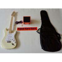 Gitar Fender Stratocaster Paketan Ampli,Kabel Dan Tas Guitar (Cream)