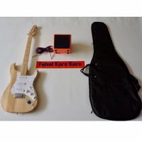 Gitar Fender Stratocaster Paketan Ampli,Kabel Dan Tas Guitar (Natural)