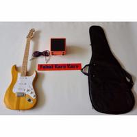 Gitar Fender Stratocaster Paketan Ampli,Kabel Dan Tas Guitar (Kuning)