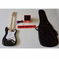 Gitar Fender Stratocaster Paketan Ampli,Kabel Dan Tas Guitar (Hitam)
