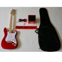 Gitar Fender Stratocaster Paketan Ampli,Kabel & Tas Gitar (Merah)