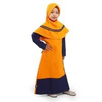 BAJUYULI Gamis Anak Perempuan Moscrepe Kombinasi Garis - Orange PMO01
