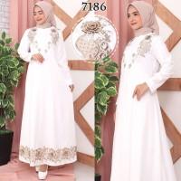 Gamis Putih Premium / Gamis Lebaran / Gamis Syari / Gamis Pesta 7186