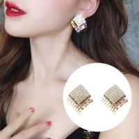 Anting pesta geometric crystal gold aksesoris perhiasan pesta