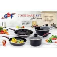Panci Wajan Set Enamel 6 pcs GSF Cookware Set Tutup Kaca
