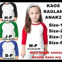 Promo Murah Say Kaos Raglan Anak Lengan3/4 Untuk Semua Desain Gambar