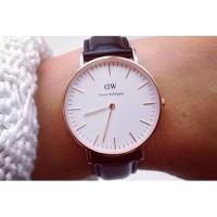 jam tangan dw classic strap coklat kulit untuk pria atau wanita
